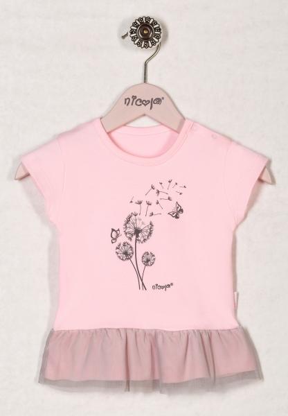 Bavlněné tričko RŮŽOVÁ PAMPELIŠKA - krátký rukáv, roz. 98