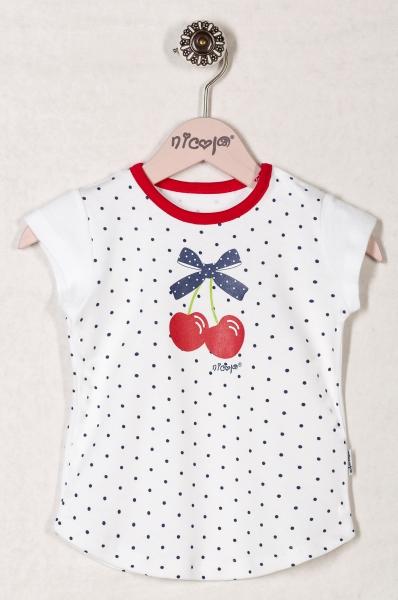 Bavlněné tričko VIŠNĚ - krátký rukáv, roz. 92, Velikost: 92 (18-24m)