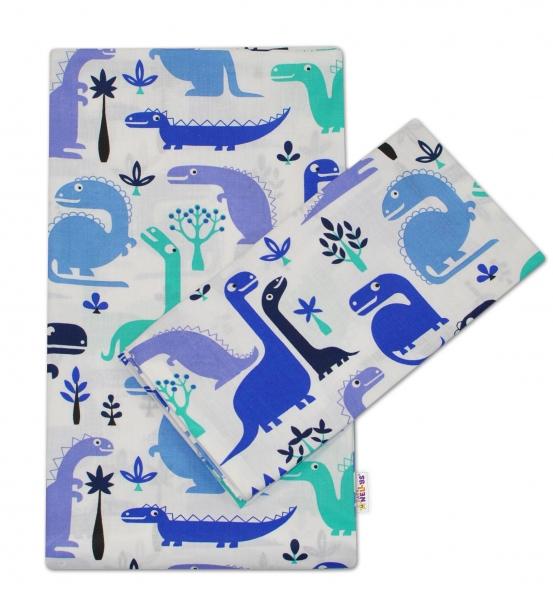 2-dílné bavlněné povlečení 135x100 -  Dinosaurus modrý