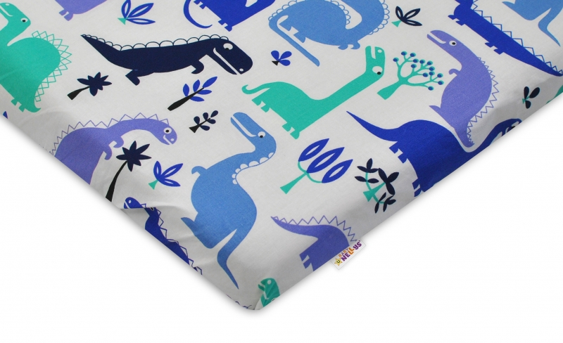 Bavlněné prostěradlo 60x120cm -  DINOSAURUS modrý - rozměr: 120x60cm,bavlna Kolekce: Dinosaurus