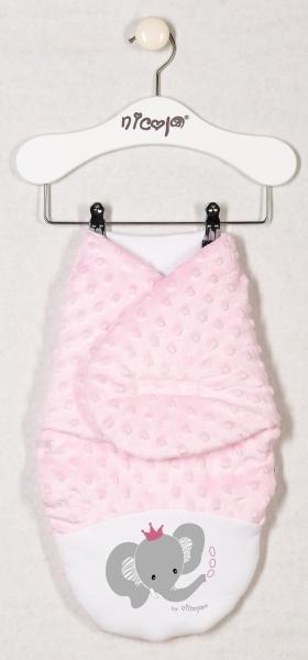 Oteplená zavinovací deka, zavinovačka MALÝ SLONÍK minky - růžová, roz. 56/62