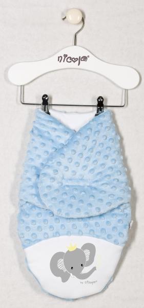 Oteplená zavinovací deka, zavinovačka MALÝ SLONÍK minky - modrá