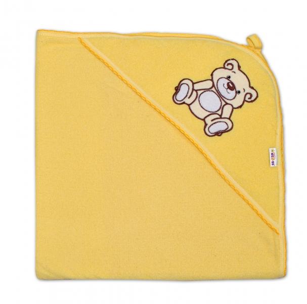 Baby Nellys Dětská osuška Teddy Bear s kapucí, roz. 80 x 80 cm - krémová,žlutá