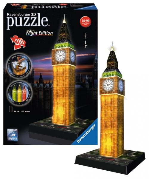 Puzzle 3D Big Ben noční edice, 216 dílů