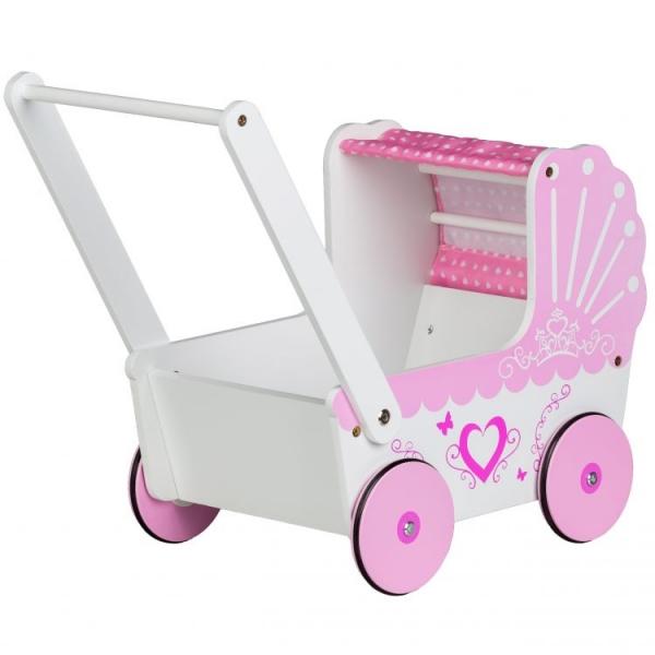 Eco toys Dřevěný kočárek pro panenky SRDCE -  růžový