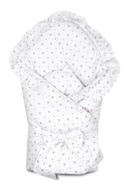 Baby Nellys  Rychlozavinovačka 80x80cm s volánkem a stuhou - kárko světle šedé na bílé