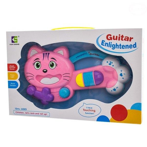 Edukační hrající hračka - kytara Kočička - růžová