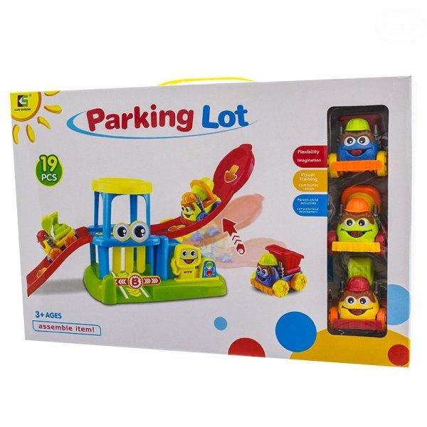 Parkovací garáž, dráha + tři autíčka