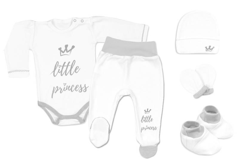 Baby Nellys 5-ti dílná soupravička do porodnice Princess, vel. 62 - bílá