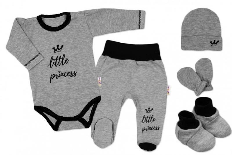 Baby Nellys 5-ti dílná soupravička do porodnice Princess, vel. 62 - šedá
