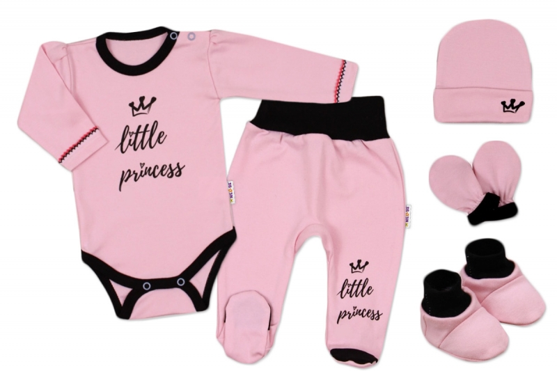 Baby Nellys 5-ti dílná soupravička do porodnice Princess - růžová