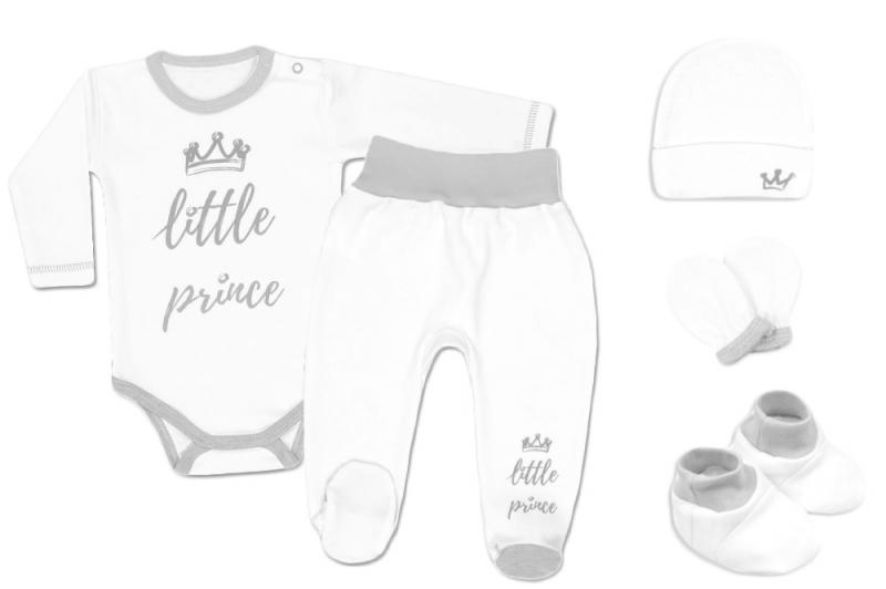Baby Nellys 5-ti dílná soupravička do porodnice Princ, vel. 62 - bílá