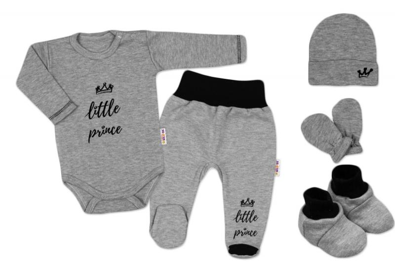Baby Nellys 5-ti dílná soupravička do porodnice Princ - šedá