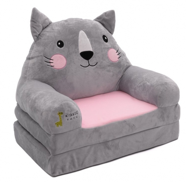 Baby Nellys Plyšové křesílko rozkládací 3v1 - Kočka šedá, růžová