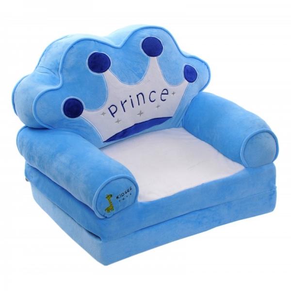 Plyšové křesílko rozkládací  - modré 3v1  - Prince