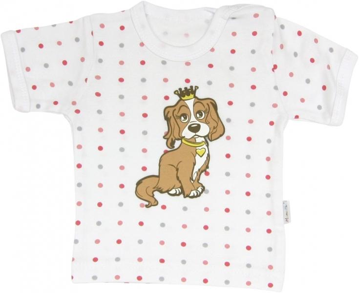 Bavlněné tričko Pejsek - krátký rukáv,  roz. 74, Velikost: 74 (6-9m)
