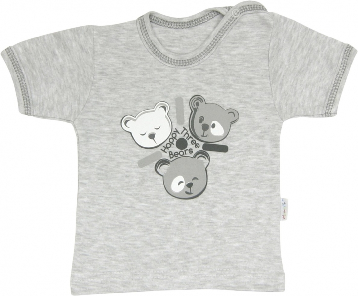 Bavlněné tričko Veselí medvídci - krátký rukáv, roz. 80, Velikost: 80 (9-12m)