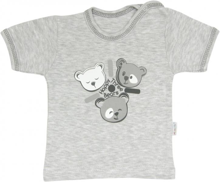 Bavlněné tričko Veselí medvídci - krátký rukáv, roz. 86