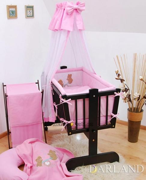 Luxusní set do kolébky Š - Medvídci na houpačce v růžové