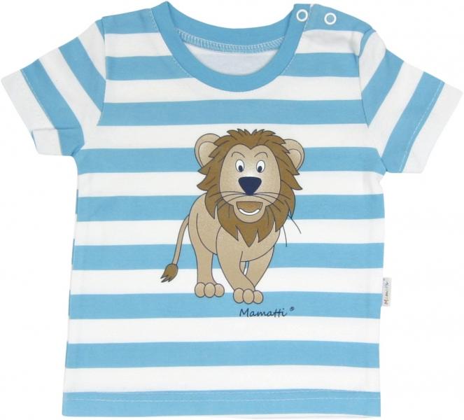 Bavlněné tričko Lev proužek - krátký rukáv - proužky, roz. 80