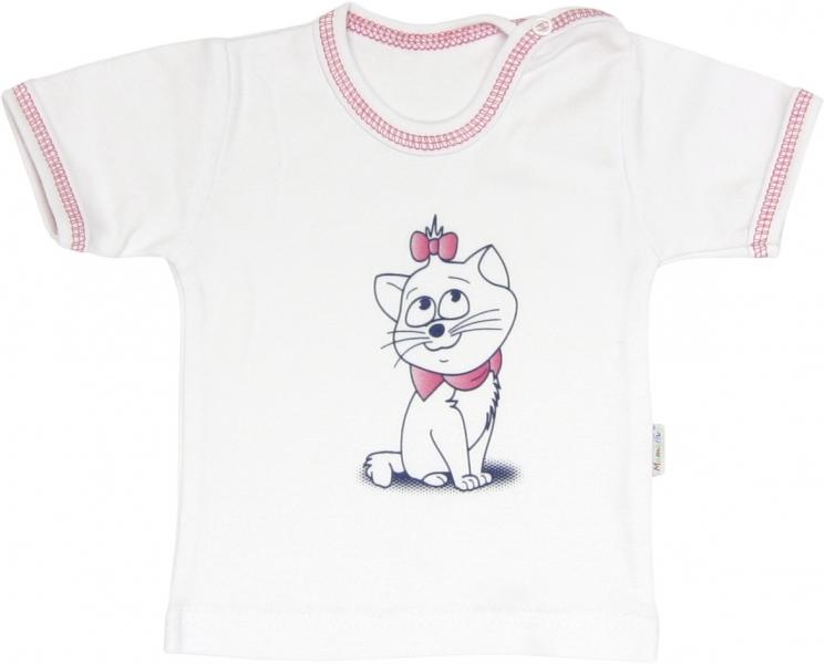 Bavlněné tričko Kočka Srdíčko - krátký rukáv , roz. 98, Velikost: 98 (24-36m)