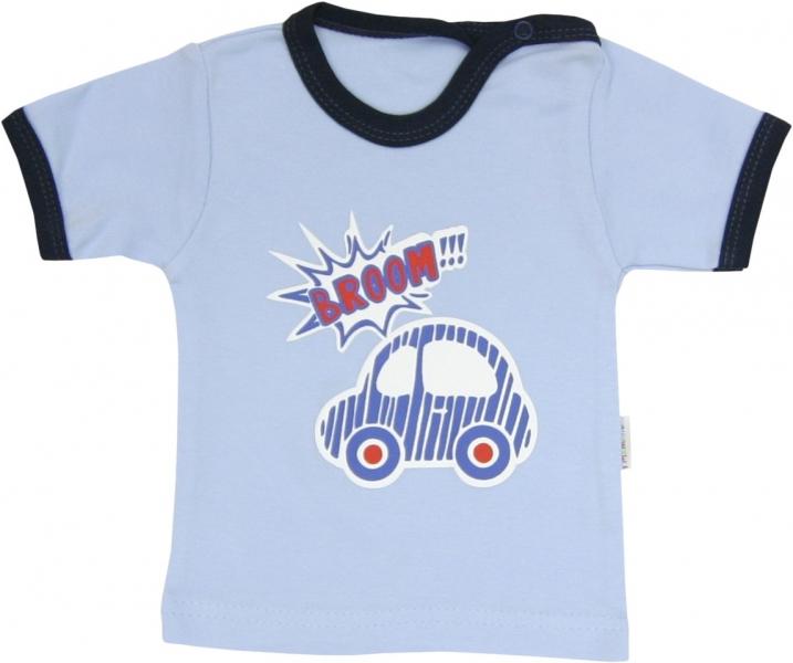 Bavlněné tričko Veselé autíčko - krátký rukáv, roz. 80, Velikost: 80 (9-12m)