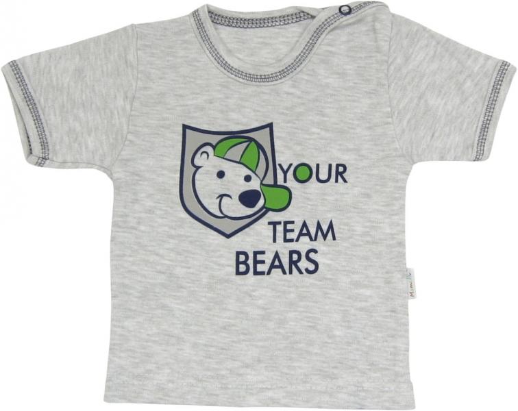 Bavlněné tričko Medvídek proužek - krátký rukáv, roz. 74, Velikost: 74 (6-9m)