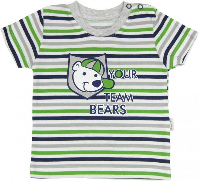Bavlněné tričko Medvídek proužek - krátký rukáv - proužky, roz. 80, Velikost: 80 (9-12m)