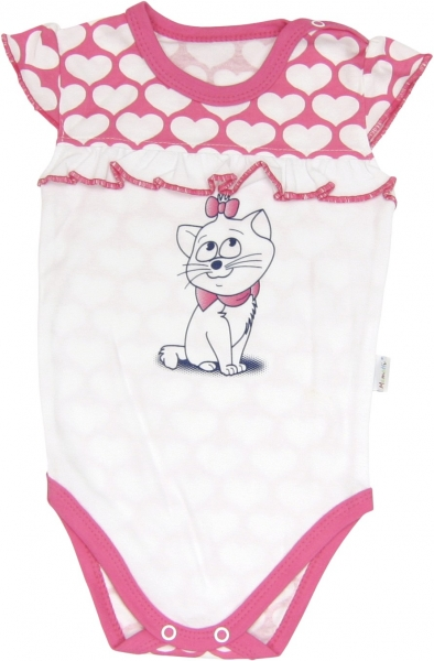 Body Kočka Srdíčko - na ramínka, Velikost: 68 (4-6m)