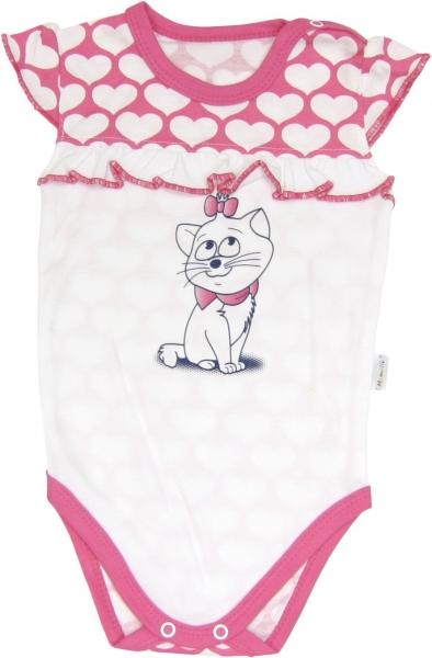 Body Kočka Srdíčko - na ramínka, roz. 80, Velikost: 80 (9-12m)