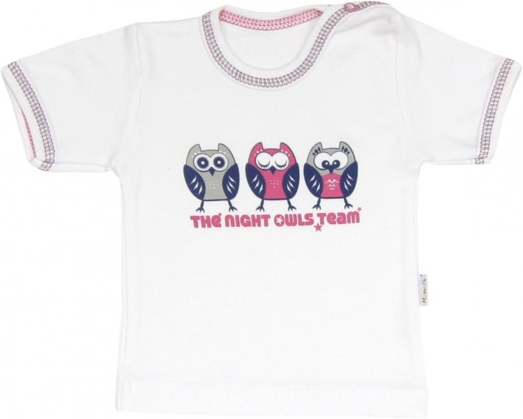 Bavlněné tričko Sovy - krátký rukáv, roz. 80