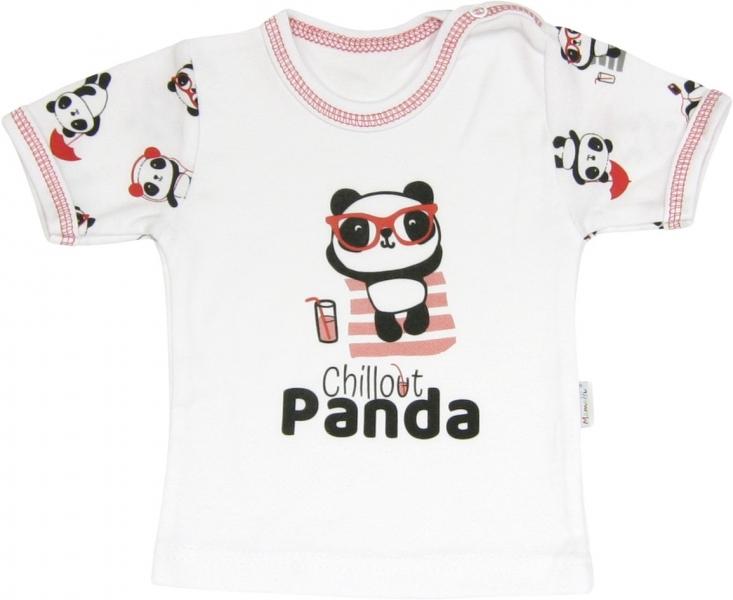 Bavlněné tričko Panda - krátký rukáv, roz. 80, Velikost: 80 (9-12m)
