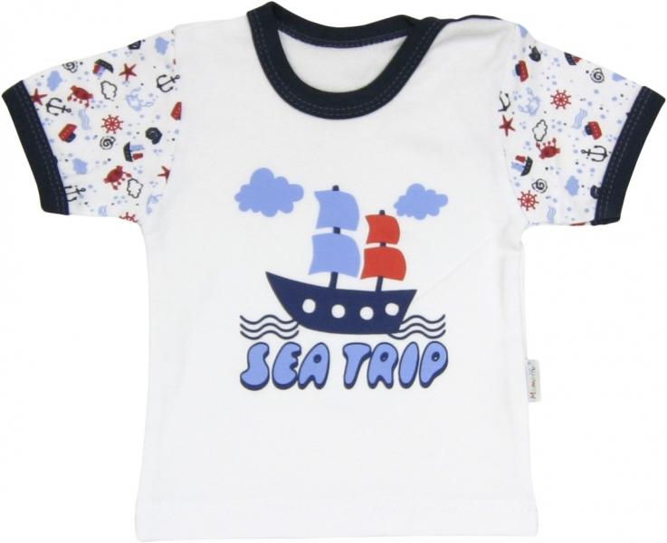 Bavlněné tričko Parník - krátký rukáv, roz. 74, Velikost: 74 (6-9m)