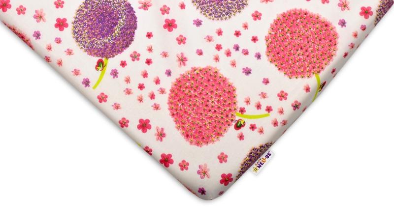 Bavlněné prostěradlo 60x120cm - Pampelišky růžové