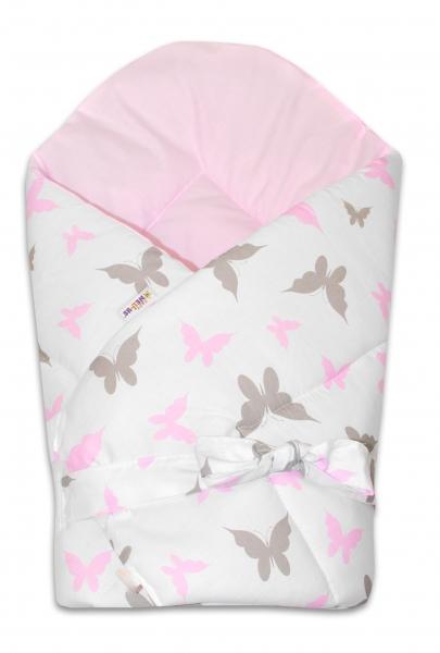 Baby Nellys  Oboustranná rychlozavinovačka 75x75cm se stuhou Motýlci - růžová