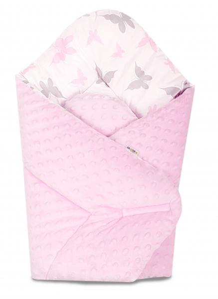 Baby Nellys  Oboustranná rychlozavinovačka 75x75cm s minky Motýlci - sv. růžová