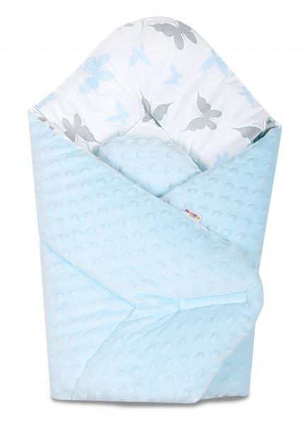 Baby Nellys  Oboustranná rychlozavinovačka 75x75cm s minky Motýlci - sv. modrá