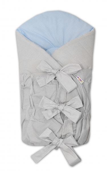 BABY NELLYS Klasická šněrovací zavinovačka 75x75cm - šedá,modrá - jemná kostička