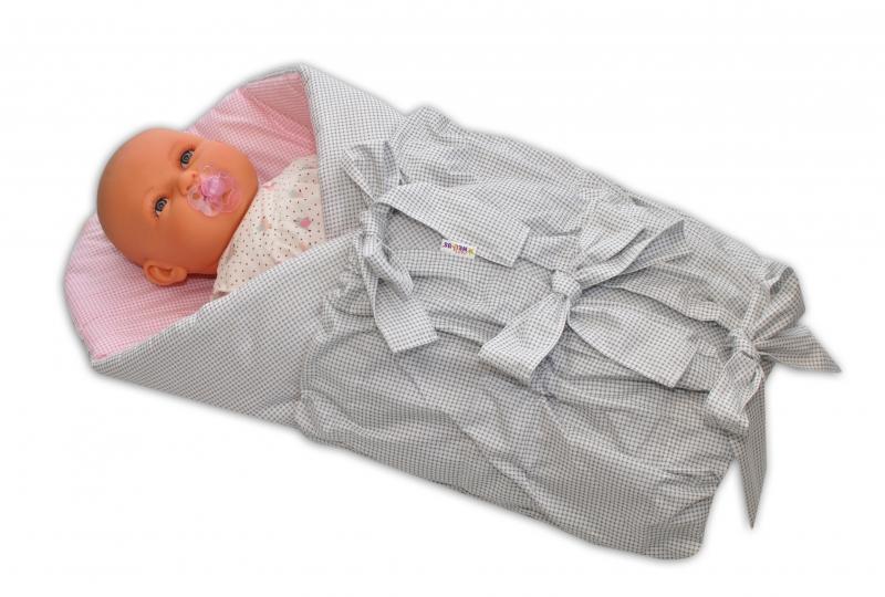 Baby Nellys Klasická retro šněrovací zavinovačka - šedá/růžová - jemná kostička