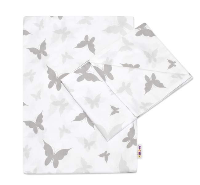 Baby Nellys 2-dílné bavlněné povlečení Motýlci - šedé