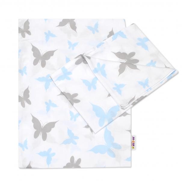 2-dílné bavlněné povlečení 135x100 cm, Motýlci - modré