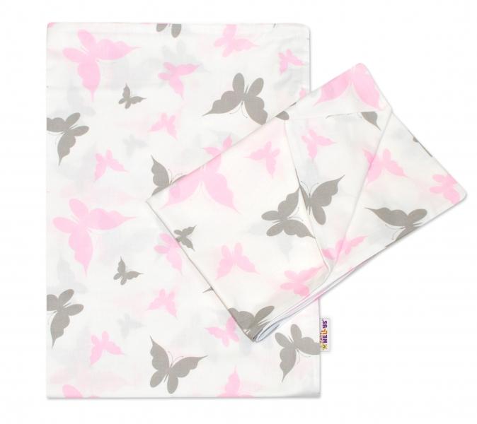Baby Nellys 2-dílné bavlněné povlečení 135x100 cm, Motýlci - růžové