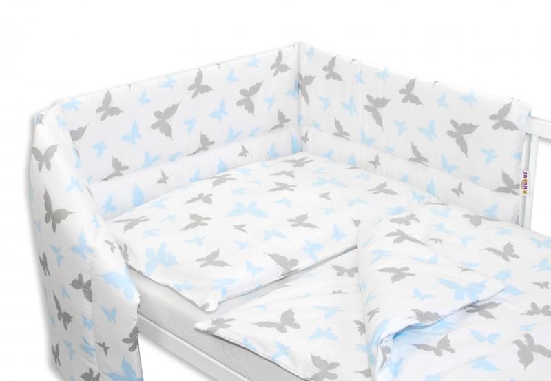 3-dílná sada mantinel s povlečením 135x100 cm, Motýlci - modrá