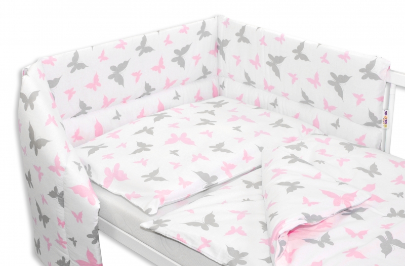 Baby Nellys 3-dílná sada mantinel s povlečením  Motýlci - růžová