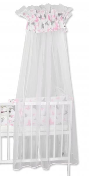 Baby Nellys Luxusní moskytiéra 170x400cm Motýlci růžoví