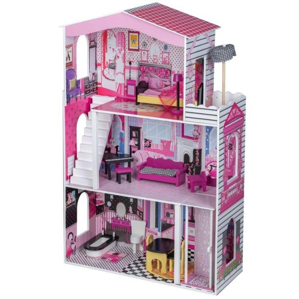 Dřevěný domek pro panenky s výtahem - Rezidence Miami