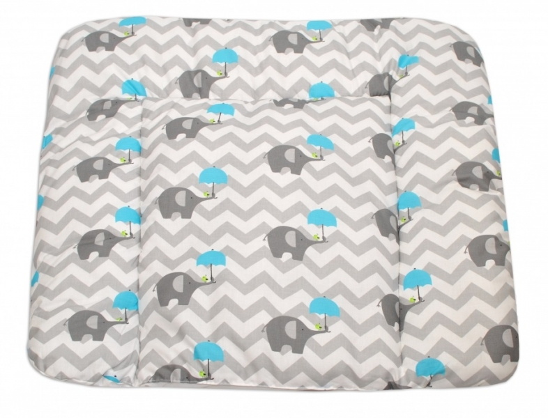 Mamo Tato Přebalovací podložka 70x75cm, Sloni zigzag - modrá