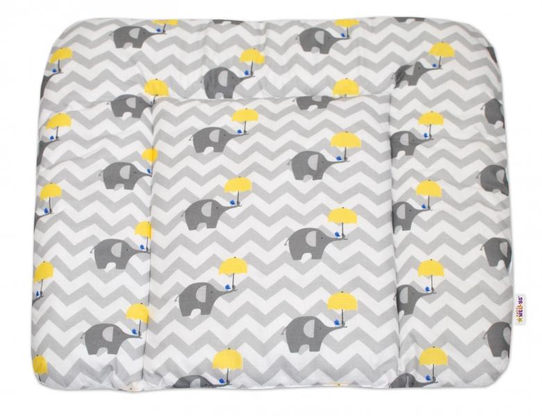 Přebalovací podložka 70x75cm, Sloni zigzag - žlutá