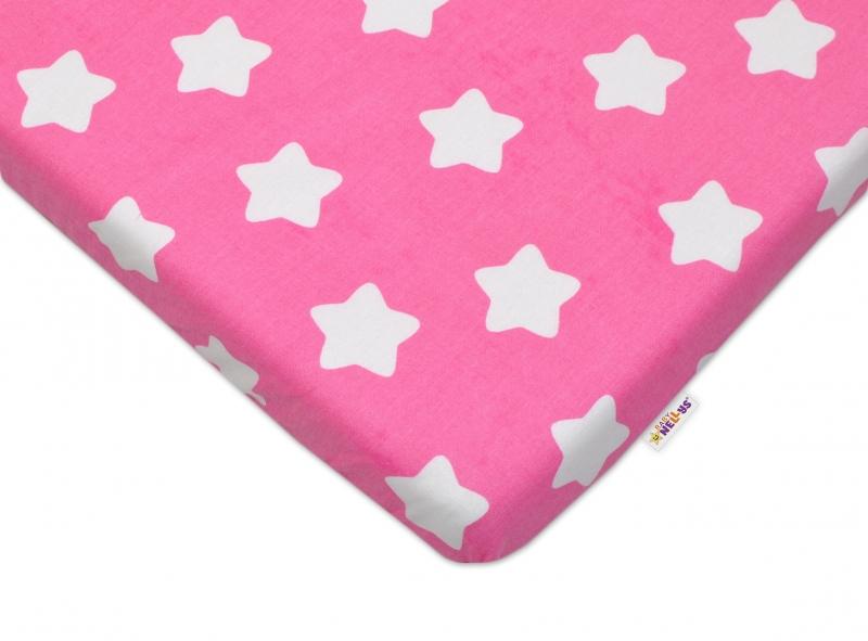 Bavlněné prostěradlo 60x120cm -  Sweet Stars - růžové