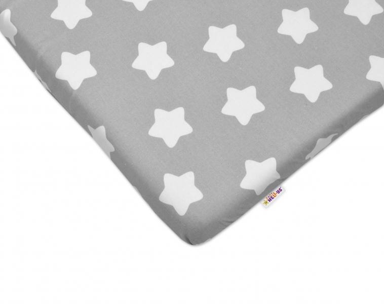 Bavlněné prostěradlo 60x120cm -  Sweet Stars - šedé